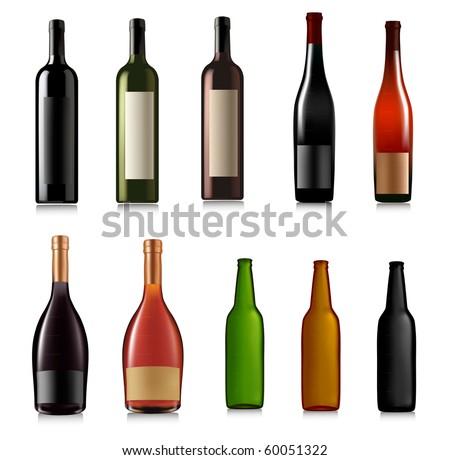 Set of different bottles. Vector illustration. - stock vector