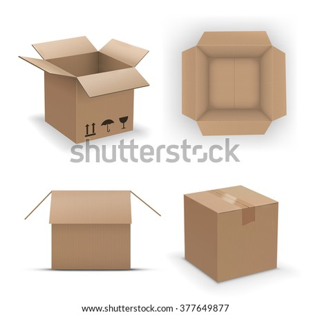 Set of different cardboard boxes, top, side and isometric views. vector illustration - stock vector