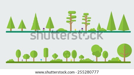 Set of different cartoon flora in flat design. Flowers, bushes, trees. - stock vector