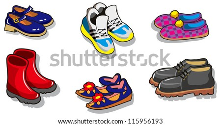 Set of different cartoon shoes, vector illustration - stock vector