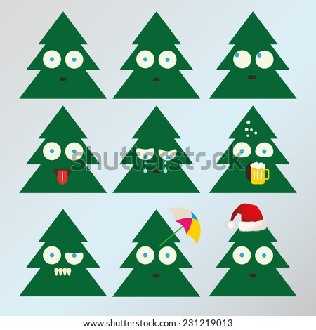 Set of different Christmas tree emoticons vector  - stock vector