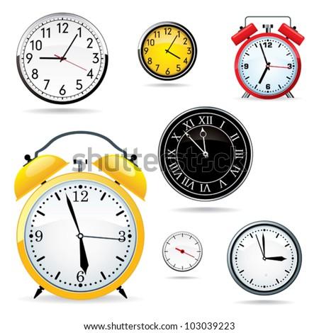 Set of different clocks. - stock vector