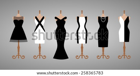 Set of 6 different cocktail and evening woman dresses on a mannequin. Short and long elegant black and white design dress collection. Vector art image illustration, isolated on background - stock vector