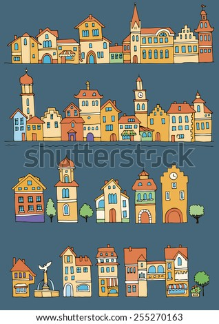 Set of different color and shape old houses. Facades of variegated buildings in the traditional Dutch style. Sketch, hand drawn - stock vector