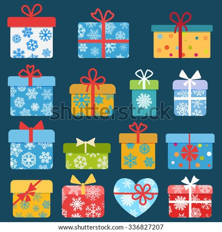 Set of different colorful christmas gift boxes with snowflakes. Flat design - stock vector