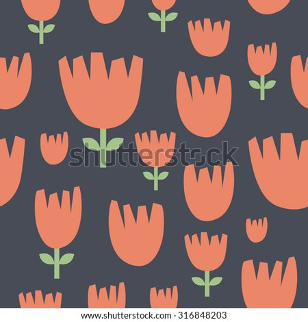 Set of different colorful plants and flowers. Cute objects on dark background. Floral collection. Seamless pattern. Tulip ornament. - stock vector