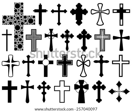 Set of different crosses isolated on white - stock vector