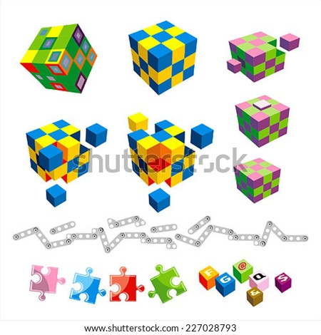 Set of different cubes and puzzles. Elements for design - stock vector