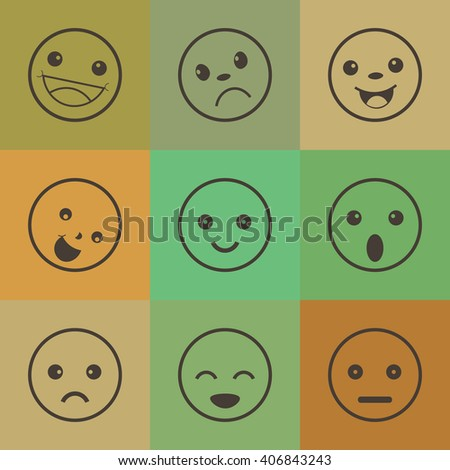 Set of different emotions icons,retro style icons - stock vector