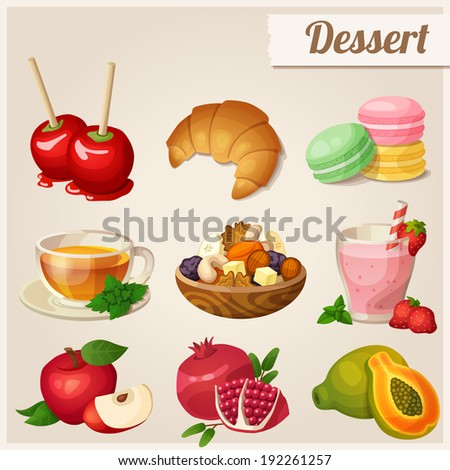 Set of different food icons. Dessert.  Red apple, pomegranate, glass of strawberry smoothie, papaya, dried fruits, toffee apples, croissant, macaroons, herbal tea - stock vector