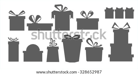 set of different gift boxes.Silhouettes of gift boxes. - stock vector