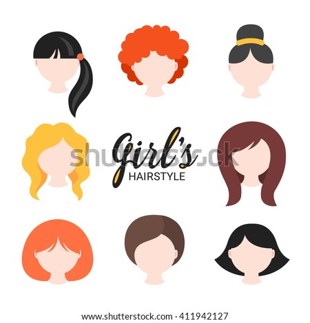 Set of different girl's hairstyle for curly, wavy, short, medium and long hair. Red, blonde, brunette and black hair. Perfect for avatars, web site icons, beauty salon prints. Vector illustration  - stock vector