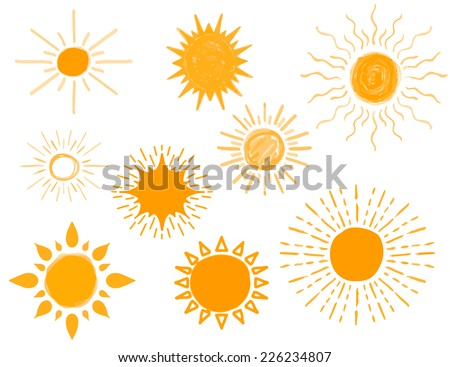 Set of Different Hand Drawn Sun Sketch, Vector Illustration - stock vector