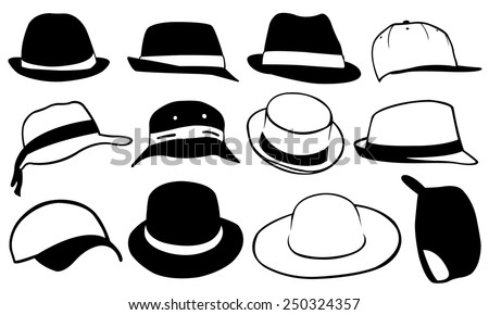 set of different hats - stock vector