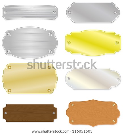 Set of 8 different house or trophy nameplates with metal and wood structure. All vector parts are isolated and grouped. Colors are easy to customize. - stock vector