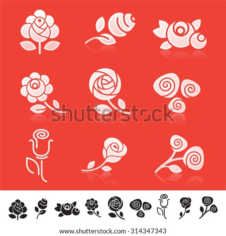 Set of 9 different icons with rose flower silhouettes - stock vector