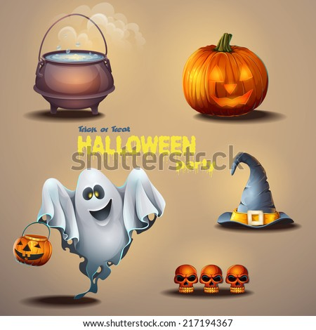 Set of different items for the holiday Halloween, as well as a cute ghost - stock vector