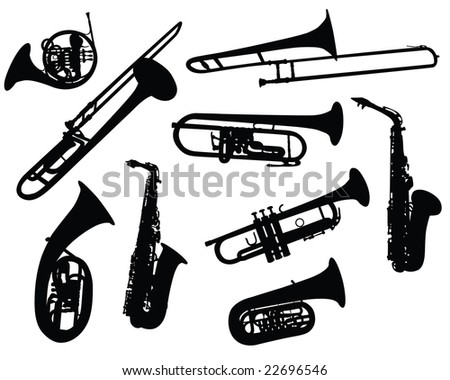 Set of Different Kind of Musical Wind Instruments Silhouettes. Tube, Horn, Trombone, Saxophone. High Detail, Very Smooth. Vector Illustration.  - stock vector