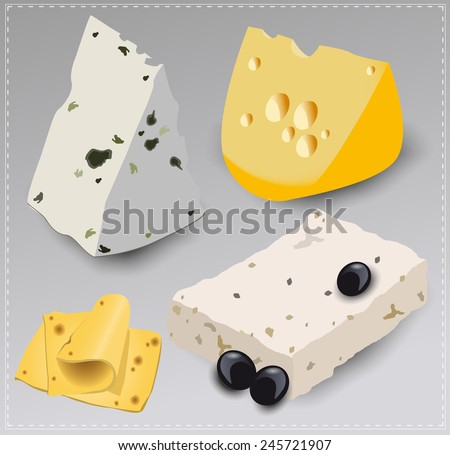 Set of different kinds of cheese. Vector illustration. - stock vector