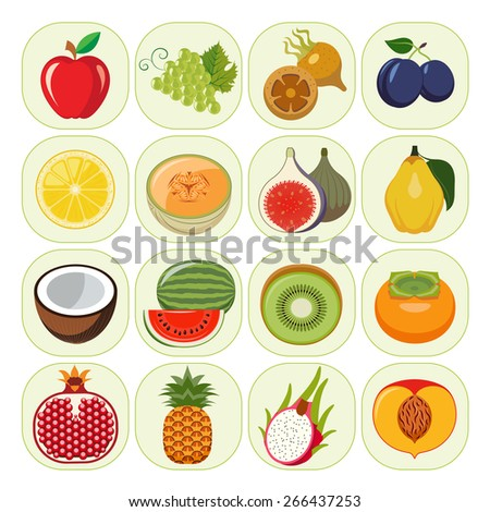 Set of different kinds of fruit icons. Vegetarian food icons. Collection of flat design icons presenting different kinds of fruits. Vector illustration of colorful and cute food icons. - stock vector