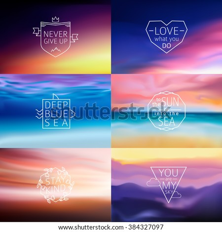 Set of 6 different landscape blurred backgrounds with typography text. Vector. - stock vector
