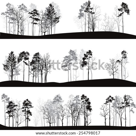 set of different landscapes with pine trees, hand drawn vector illustration - stock vector