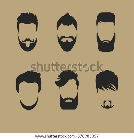 set of different men hipster haircuts, beard, mustache icons flat - Vector - stock vector