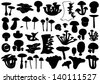 Set of different mushrooms - stock vector