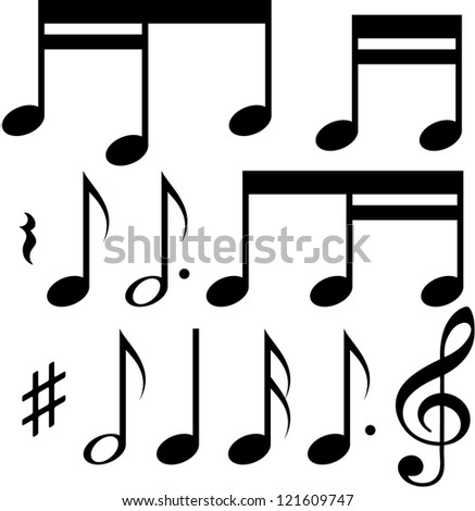 Set of different music notes on white background - stock vector
