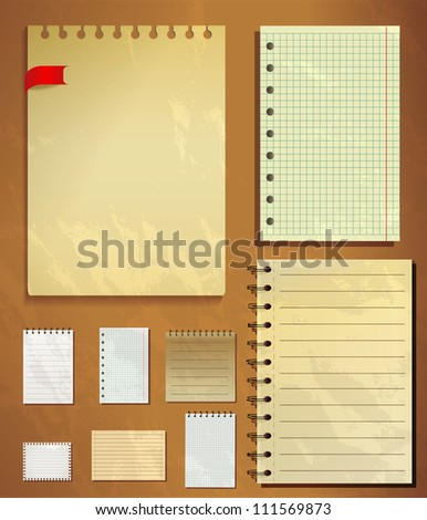 Set of different old styled writing papers - stock vector