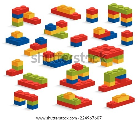 Set of different plastic pieces or constructor - stock vector