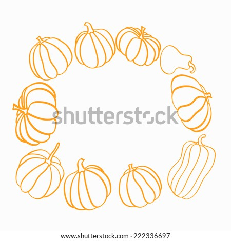 Set of different pumpkins, illustration isolated on white background - stock vector