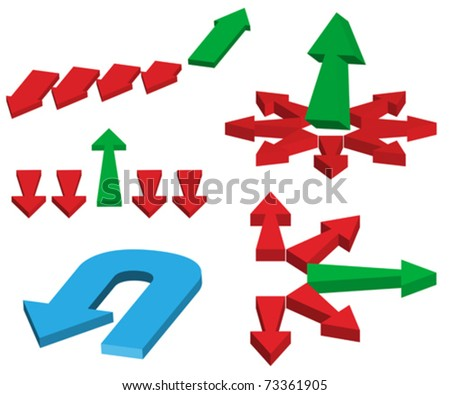 Set of Different Red And Green Arrows - stock vector