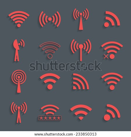 set of different red vector wifi icons for communication and remote access. vector illustration - stock vector