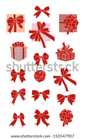 set of different ribbons and boxes with bows - stock vector