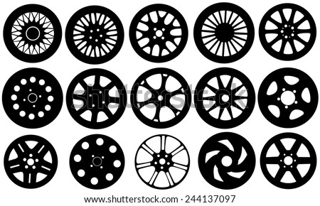 set of different rims isolated - stock vector