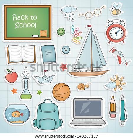 Set of different school items. - stock vector