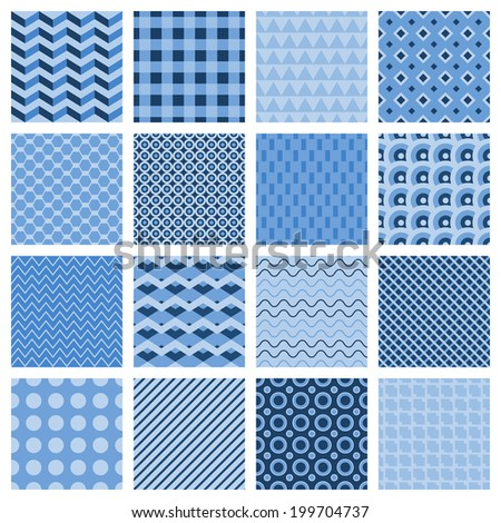 Set of 16 different seamless geometric patterns in blue with zigzags diamond stripes squares  dots wavy lines triangles and a lattice vector illustration - stock vector