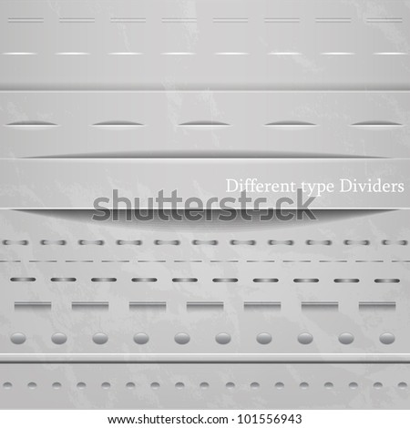 Set of different seamless web dividers with shadow - stock vector