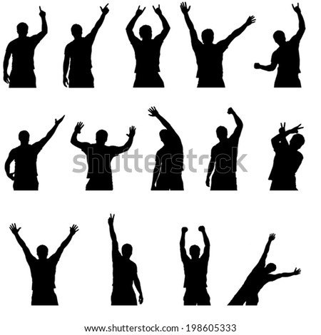 set of different silhouettes of dancing men - stock vector