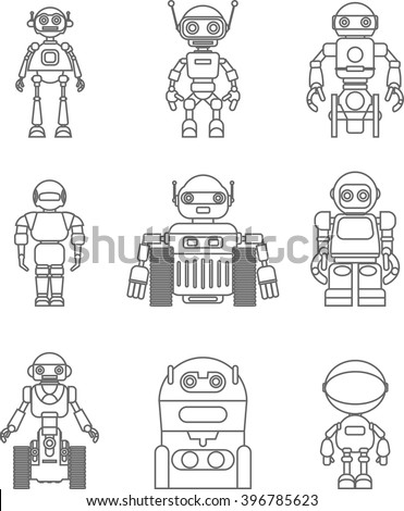 Set of different silhouettes robots flat linear vector icons isolated on white background. Vector illustration. - stock vector