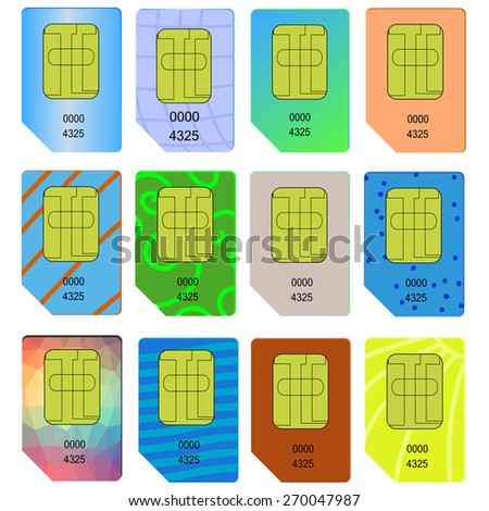 Set of Different SIM Cards Isolated on White Background. - stock vector