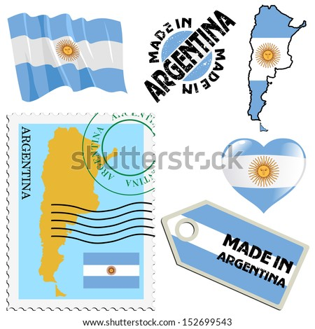 set of different simbols in national colours of Argentina - stock vector