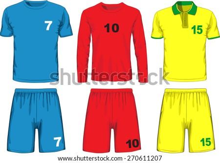 Set of different soccer uniform. Vector illustration - stock vector