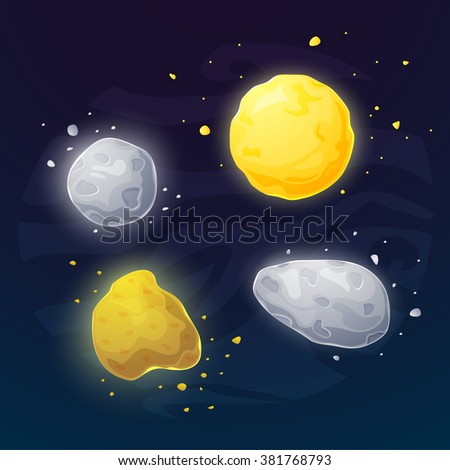 Set of different space asteroids, vector illustration in cartoon style - stock vector