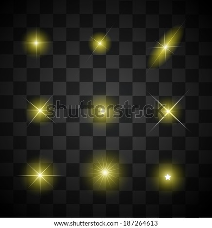 Set of different sparkling yellow light effects vector - stock vector