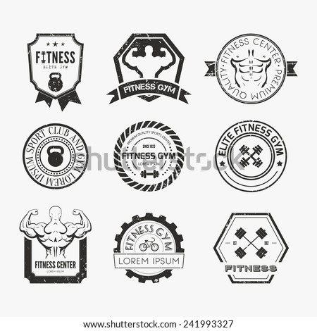 Set of different sports and fitness logo templates. Gym logotypes. Athletic labels and badges made in vector. Bodybuilder, fit man, athlet icon.   - stock vector