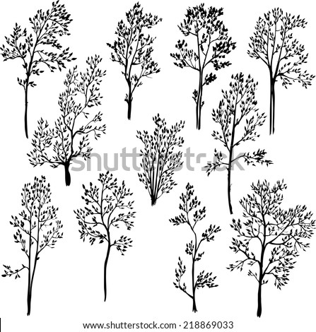 set of different spring trees, hand drawn design element, vector illustration - stock vector