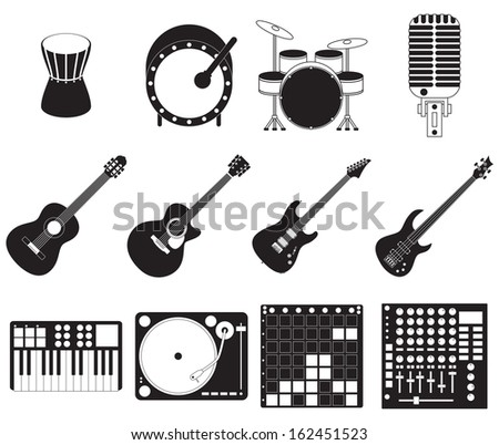 Set of different stage music instruments. - stock vector