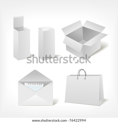 Set of different storage: boxes, bag, envelope - stock vector
